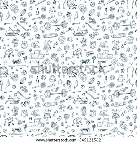 Sports. Vector Seamless pattern of sports equipment. Hand Drawn Doodles illustration. - stock vector