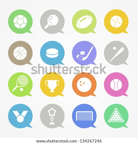 Sports web icons set in color speech clouds - stock vector