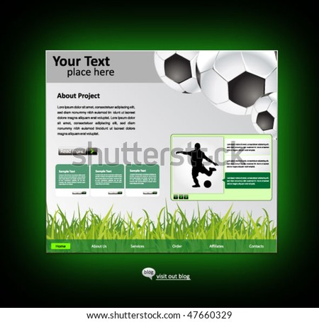 sports web site design template - vector illustration