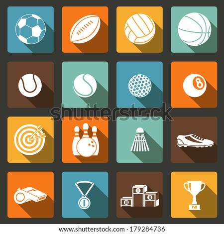 Sports white long shadow icons set of football baseball basketball and tennis balls isolated vector illustration - stock vector