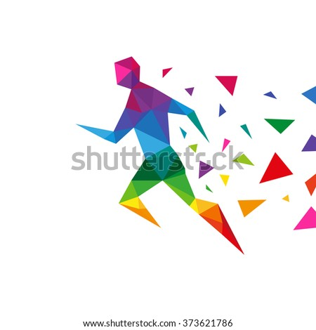 Sportsman abstract triangle design concept element isolated on a white backgrounds, vector illustration - stock vector