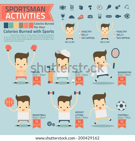 sportsman activities and calories burned infographics with food icon vector - stock vector