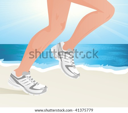 Sportsman running on the beach,  vector illustration - stock vector