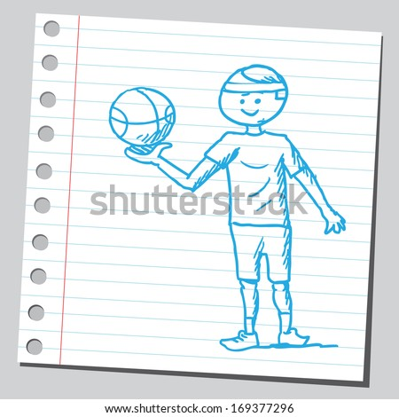 Sportsman with basket-ball - stock vector