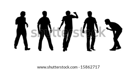 Sportsmen silhouettes on the white background