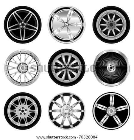 sporty aluminum wheel vector - stock vector