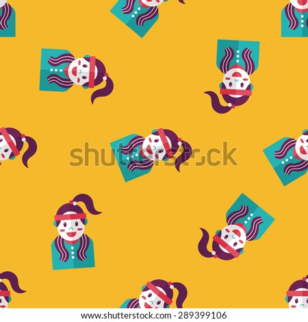 sporty girl flat icon,eps10 seamless pattern background