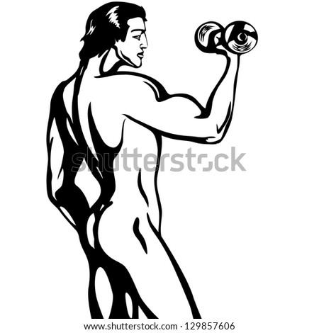 sporty naked man with a dumbbell - stock vector
