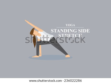 Sporty women doing side stretch with one hand on floor in yoga standing side stretch pose. Vector illustration isolated on plain grey background. - stock vector