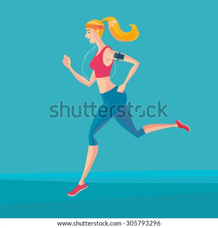 Sporty young woman jogger listening to music on smartphone. Runner with smartphone armband. Vector Illustrator. - stock vector