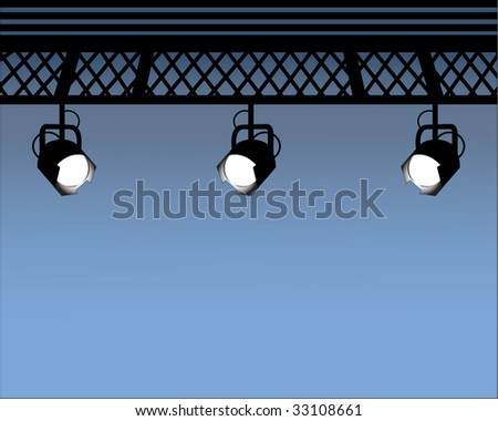Spot Lights with industrial beams (move them as you wish) - stock vector
