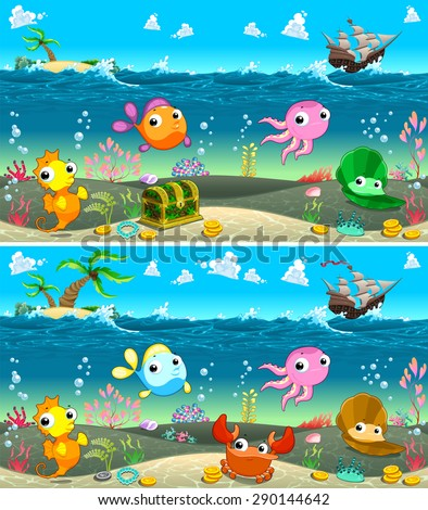Spot the differences. Two images with eight changes between them, vector and cartoon illustrations - stock vector