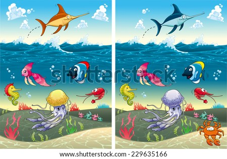 Spot the differences. Two images with seven changes between them, vector and cartoon illustrations - stock vector