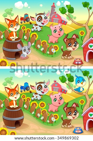 Spot the differences. Two images with seven changes between them, vector and cartoon illustrations. - stock vector
