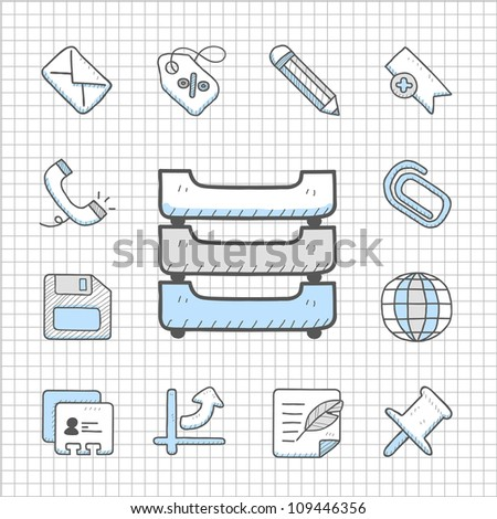 Spotless Series | Hand drawn business icon set - stock vector