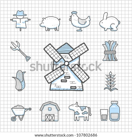 Spotless Series | Hand drawn farm icon set - stock vector