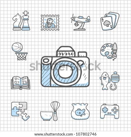 Spotless Series | Hand drawn Hobby icon set - stock vector