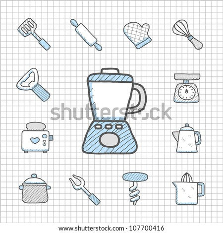 Spotless Series   Hand drawn kitchenware  icon set - stock vector
