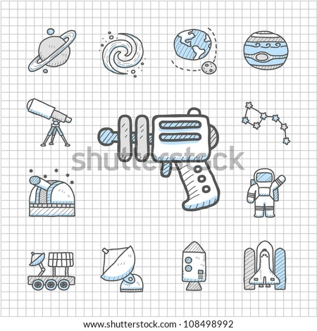 Spotless series   Hand drawn Space icon set - stock vector