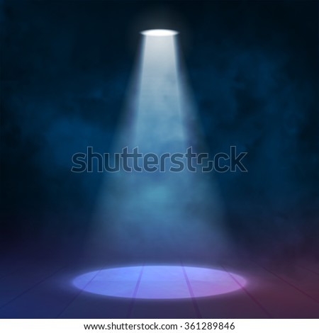 Spotlight illuminated wooden scene stage. Rewarding, club, theater, disco background Vector illustartion. - stock vector