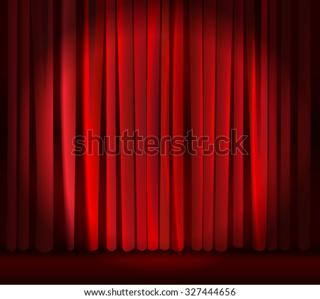 Spotlight on empty stage curtain backdrop. Red closed curtain with light spots in a theater. vector art image illustration. abstract, elegant background for stand up comedy show, circus, opera...