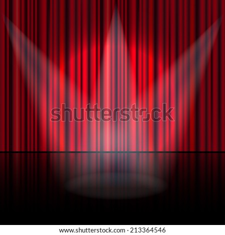 Spotlight on stage curtain. Vector. - stock vector