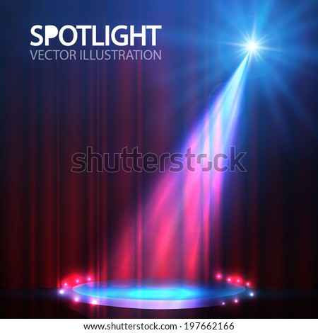 Spotlight on stage curtain with smoke & light. Vector illustration. - stock vector
