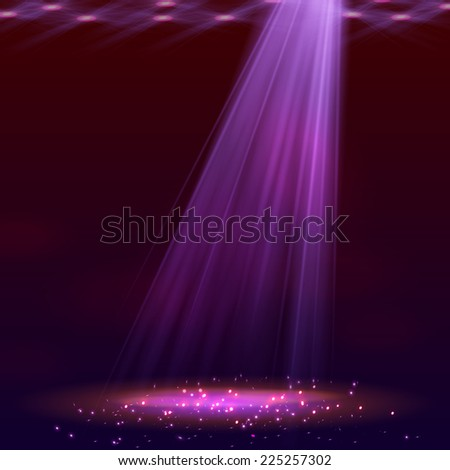 Spotlight on stage with smoke and   light. - stock vector