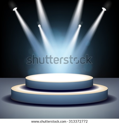 Spotlight shining on empty stage - stock vector