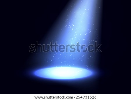 Spotlight with shiny particles background. Vector eps10. - stock vector