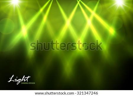 Spotlights & empty scene. Green design. Vector illustration - stock vector