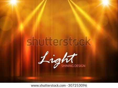 Spotlights & empty scene. Illuminated design. Vector illustration. - stock vector