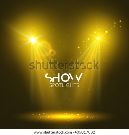 Spotlights empty scene. Illuminated stage design. Show background with lights special effect. - stock vector