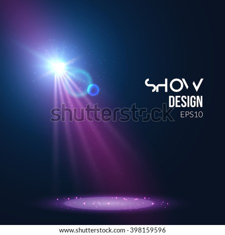 Spotlights empty scene. Illuminated stage design. Show theater background with lights special effect. - stock vector
