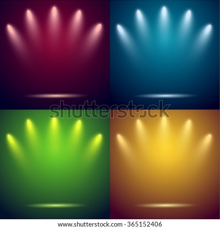 Spotlights & empty stages. Four backgrounds. Vector illustration. - stock vector