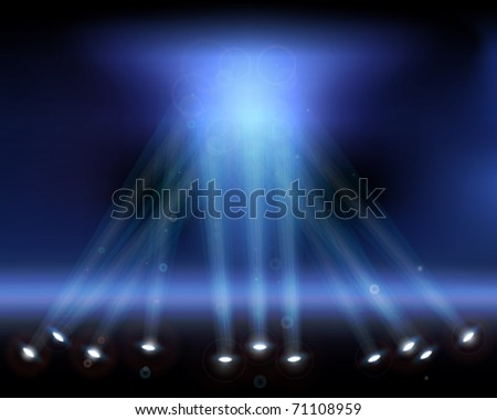 Spotlights in the sky. Vector illustration. - stock vector