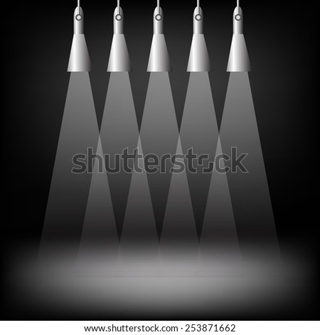 Spotlights on dark background. Place for exhibit. Abstract image of concert lighting. Graphic Design Useful For Your Design.Spotlight background with lamps.