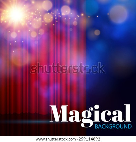 Spotlights on stage curtain with smoke & light. Vector illustration. - stock vector