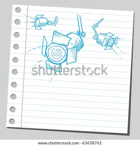 Spotlights sketch - stock vector