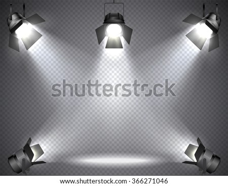 Spotlights with bright lights on transparent background. - stock vector