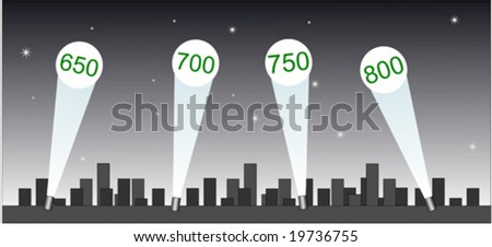 Spotlights with credit scores projected on sky - stock vector
