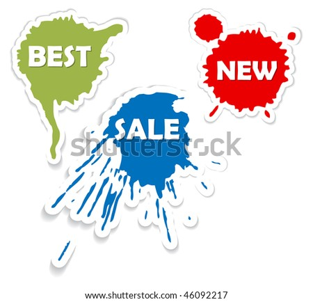 Spots as a stickers and labels for eshop items - best, sale, new - stock vector