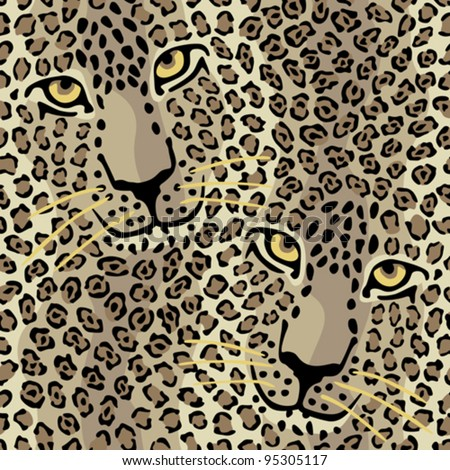 Spotted Cats pattern repeats seamlessly. - stock vector