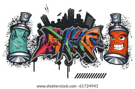spray cans is angry with this city - stock vector
