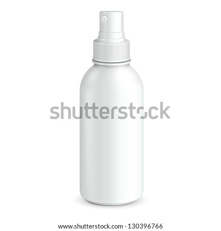 Spray Cosmetic Parfume, Deodorant, Freshener Or Medical Antiseptic Drugs Plastic Bottle White. Ready For Your Design. Product Packing Vector EPS10 - stock vector