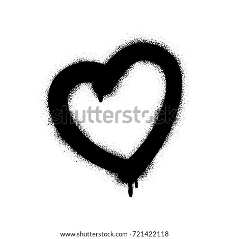 Spray Graffiti Heart Symbol White Background Stock Vector 721422118