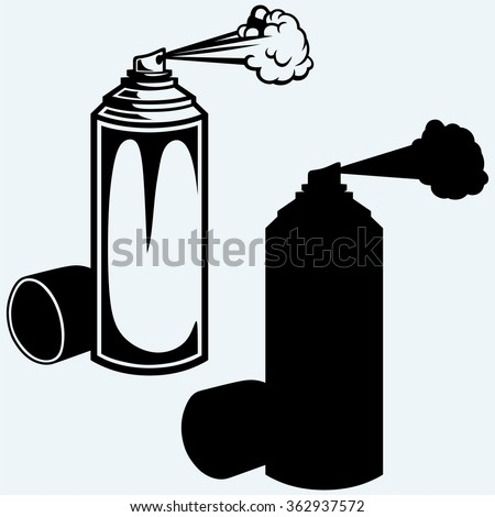 Spray paint. Isolated on blue background. Vector silhouettes - stock vector
