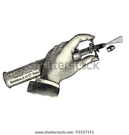 "Sprayer - vintage engraved illustration - ""Manuel des hospitalière et des garde-malaldes""  edited by  Librairie Poussielgue - Paris 1907 - stock vector"
