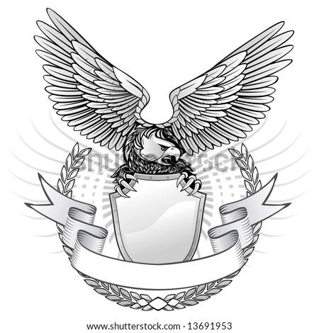 Spread Wing Eagle Insignia - stock vector