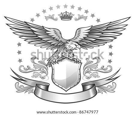 Spread winged eagle insignia - stock vector